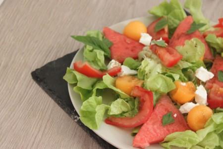 Salade sucrée salée: Melon, Pastèque, chèvre